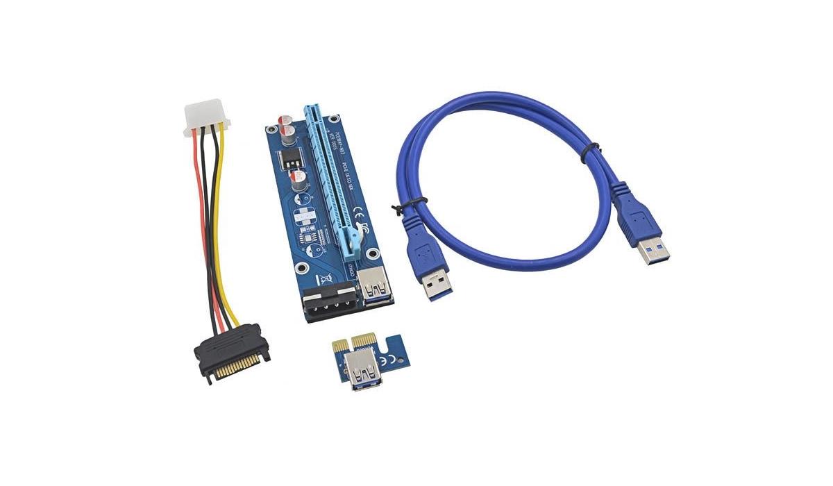 Райзер Ver 06.Кабель 60см.Riser PCI E/Molex-Sata/USB 3.0-Ферма-майнинг