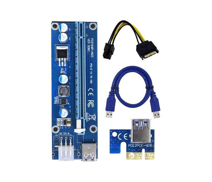 9f873ec0433e Райзер Ver 06. 6pin-Sata USB 3.0.Кабель 60см.Riser PCI-E 1X TO 16X ...
